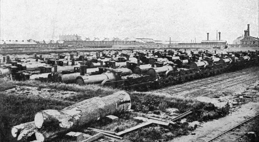 A LOCOMOTIVE GRAVEYARD - BROAD GAUGE ENGINES AT SWINDON STATION