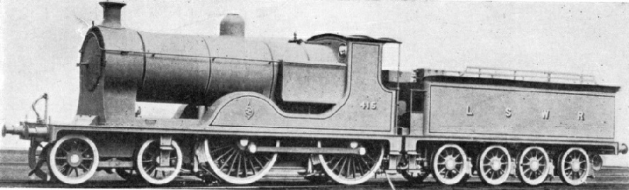 Fitted with a water-tube firebox, a 4-4-0 of the LSWR