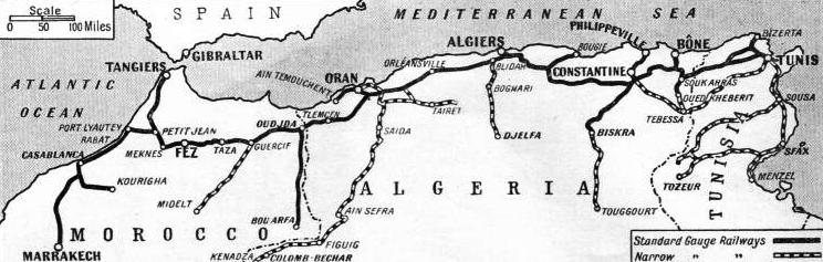 THE MAIN RAILWAY SYSTEMS of Northern Africa