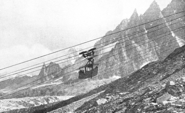 The suspension railway that climbs towards the summit of the Aiguille du Midi