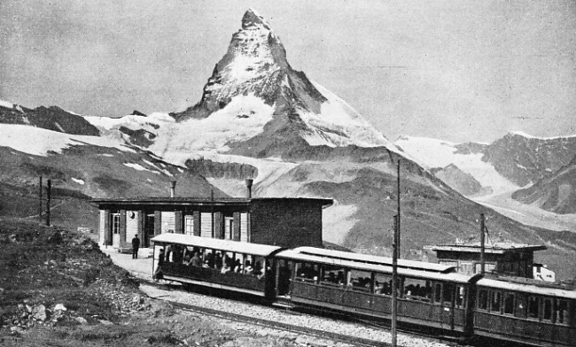 THE GIANT MATTERHORN forms a striking background to the Gornergrat Railway at the Riffelberg Station