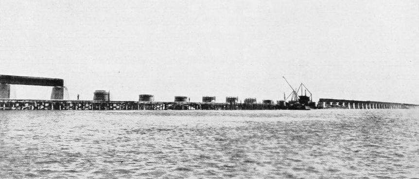 THE RAILWAY EAST OF PIGEON KEY, SHOWING PIERS AND BRIDGE CONSTRUCTION