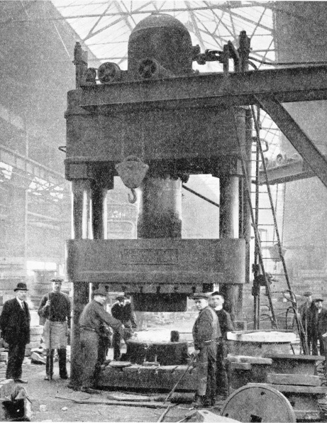 The hydraulic press in the forge at the Queen's Park Works, Glasgow
