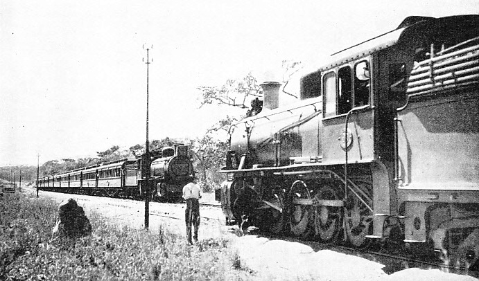 The north- and south-bound mails passing, on the main line at Wallamba, Northern Rhodesia