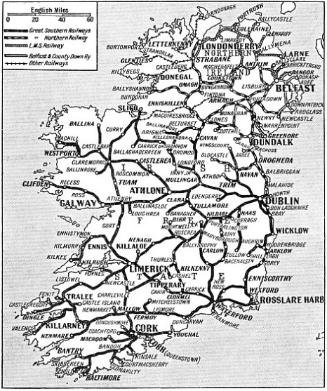 IRELAND'S main railway systems, whose total mileage is about 3,000, are shown on this map