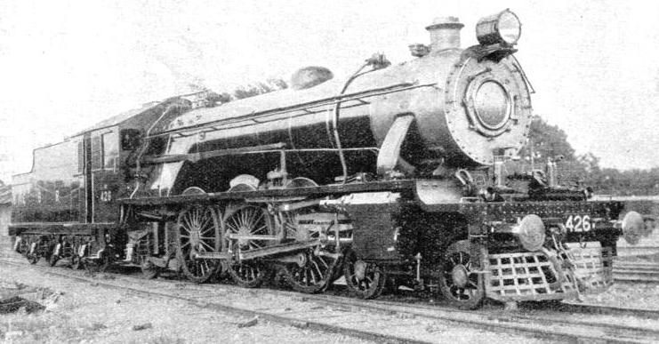 A POWERFUL LOCOMOTIVE of the 4-6-2 type used on the broad-gauge system of the Eastern Bengal State Railway