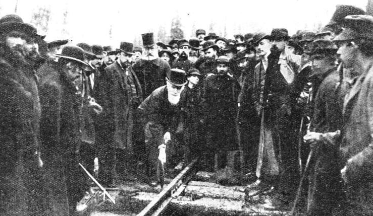 In 1885 the advancing railheads met at Craigellachie, and on November 7 of that year the late Lord Strathcona drove in the last spike of the track