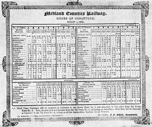 Midland Counties timetable of 1842