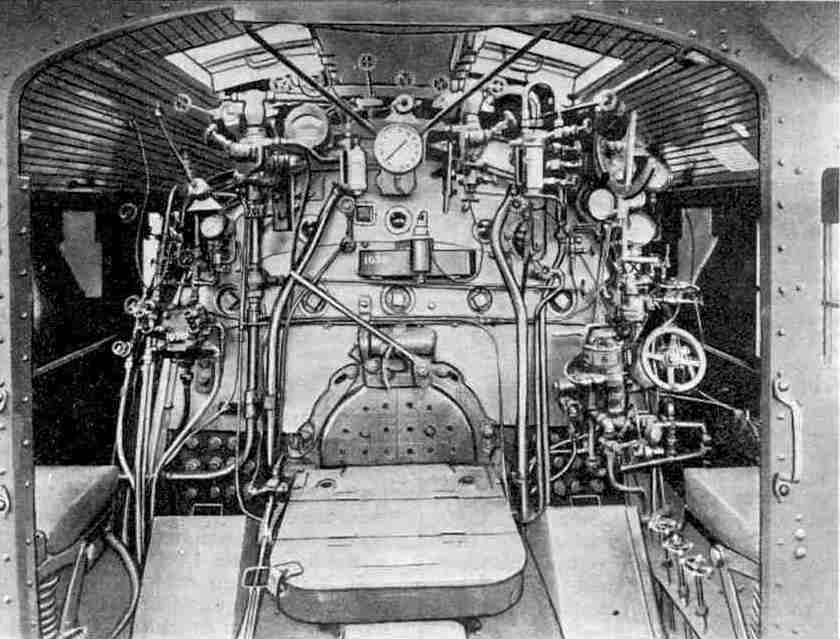 The cab of one of the giant Pacifics that haul the Twentieth Century Limited