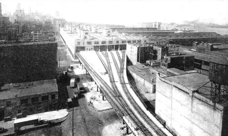ST. JOHN'S PARK TERMINAL, with the recently constructed viaduct and the tracks spreading out into eight fines as they enter the station