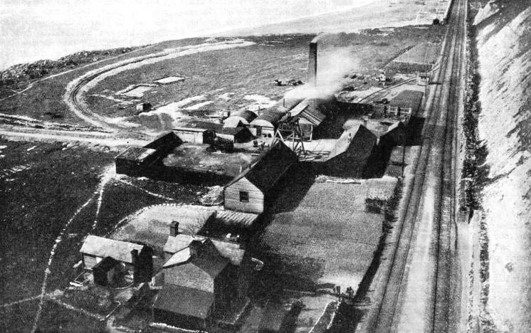 AN AERIAL VIEW of workings in connexion with one of the Channel tunnel schemes proposed at the end of the nineteenth century