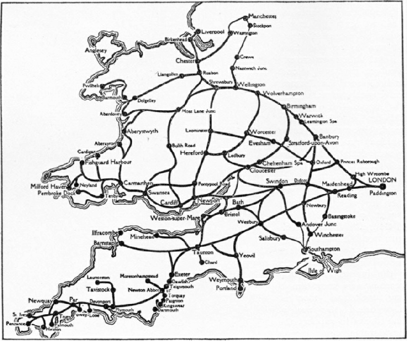 The vast network of lines operated by the Great Western Railway