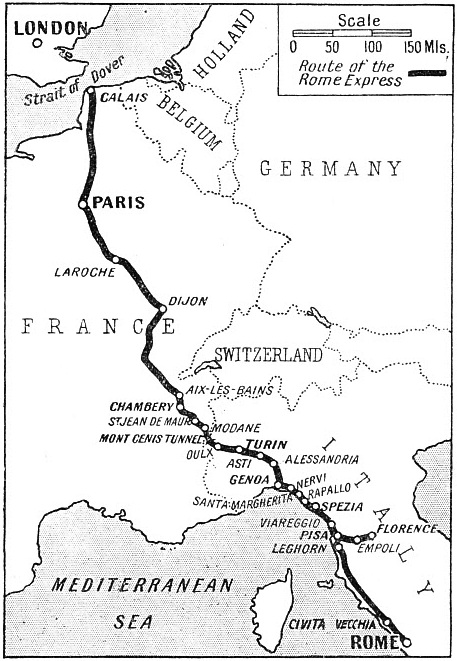 "The route of the ""Rome Express"""