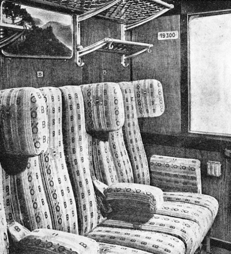 Spaciousness and modern railway comfort are typified by this second-class compartment in an Austrian Federal Railways eight-wheeled passenger coach