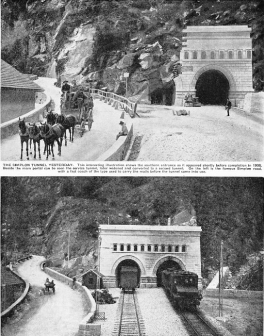 The Simplon tunnel yesterday and today