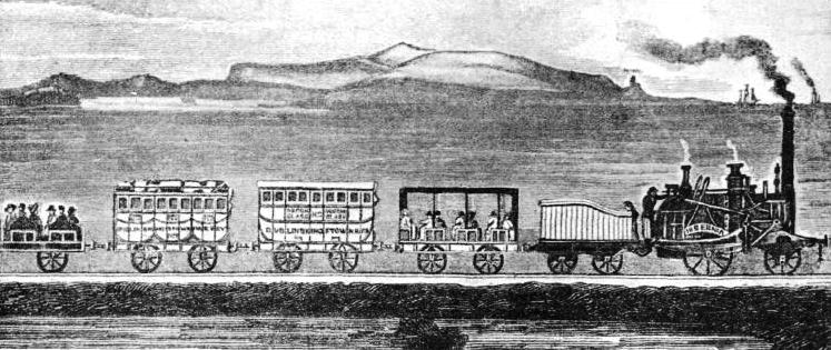 The first train on the Dublin and Kingstown Railway passing Merrion on its journey to Kingstown