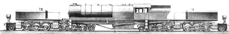 A drawing of a huge freight engine of the 2-6-6-2 + 2-6-6-2 type, for which a patent has been taken out by Messrs Beyer, Peacock & Co