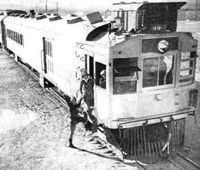 An up-to-date U.S. mail-train, of the Diesel-electric type, as now in service on the Tonopah and Tidewater Railway