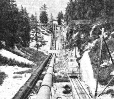 LOOKING DOWN THE PIPE-LINE which, with a maximum gradient of 87 per cent (about 1 in 1⅛), carries the water from the level of the Barberine Lake down into the power-station