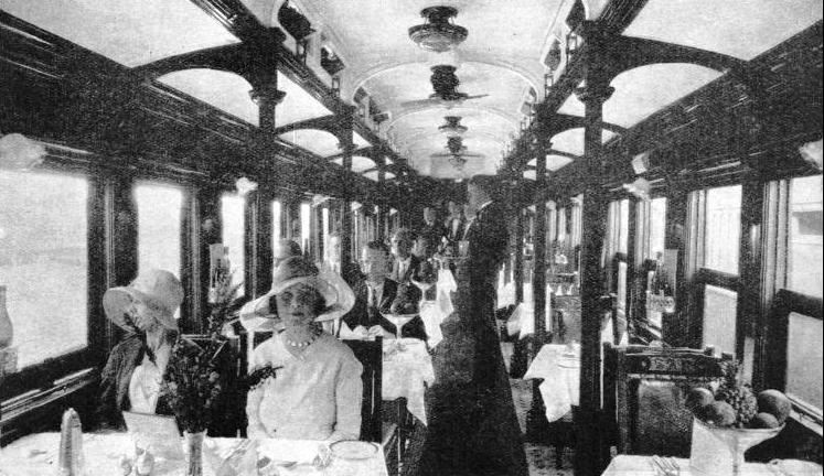 WELL-APPOINTED, this dining-saloon, which includes a small bar, can seat forty-six passengers