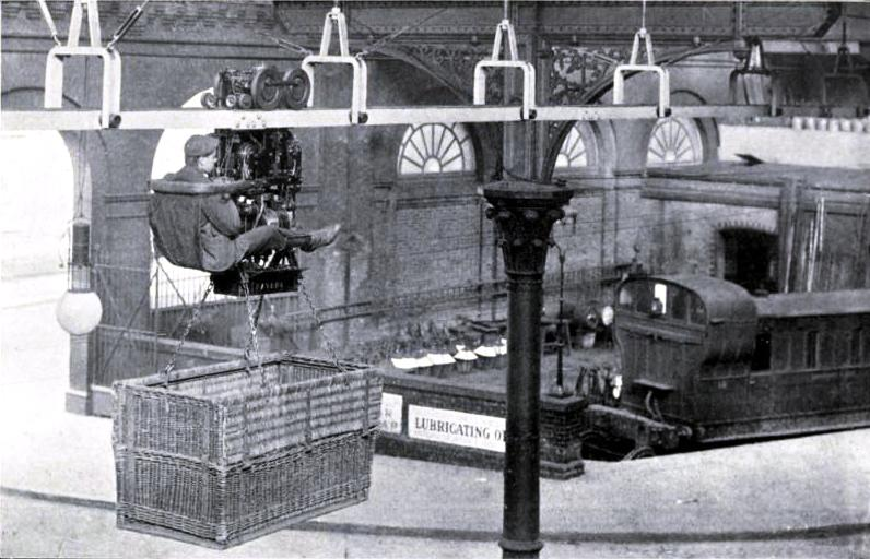 AN OVERHEAD CARRIER: A NOVEL DEVICE FOR TRANSPORTING LUGGAGE AT VICTORIA STATION, MANCHESTER, Lancashire & Yorkshire Railway