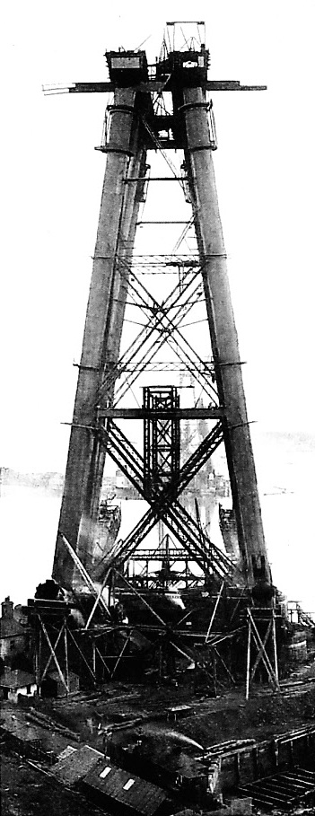RAISING THE MASSIVE STEEL LEGS ON THE FIFE PIER, APRIL 15, 1887