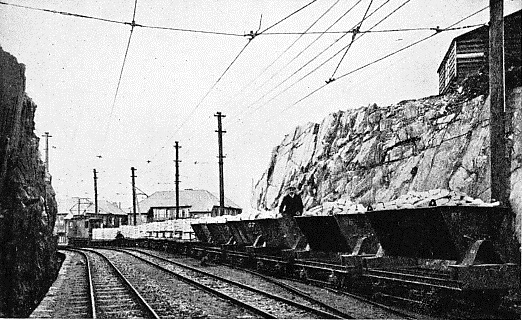 A rock cutting on the British Aluminium Company's electric railway at Kinlochleven