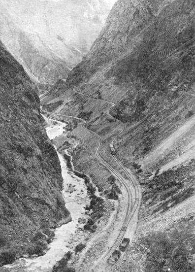 the Central Railway of Peru winds its way through the Rimac Gorge on the Callao-Oroya route