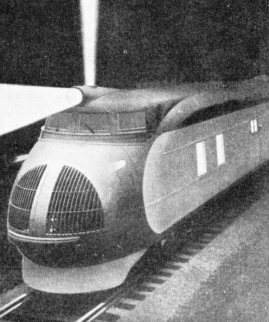 At night time the streamlined train lights the way with a powerful electric searchlight