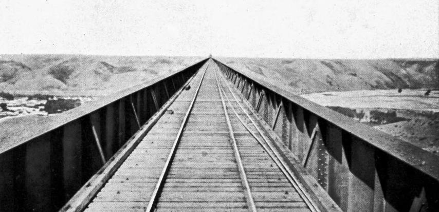 LOOKING ALONG THE DECK OF LETHBRIDGE VIADUCT