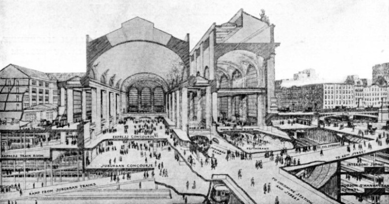 VERTICAL SECTIONAL VIEW OF THE NEW GRAND CENTRAL STATION OF THE NEW YORK CENTRAL AND HUDSON RIVER RAILWAY