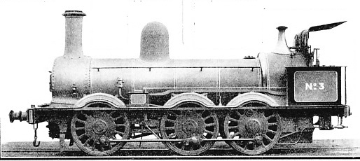 "An old locomotive constructed on the ""long boiler"" plan of Robert Stephenson"