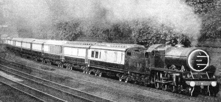 THE ROYAL TRAIN hauled by a Royal Scot, LMS locomotive