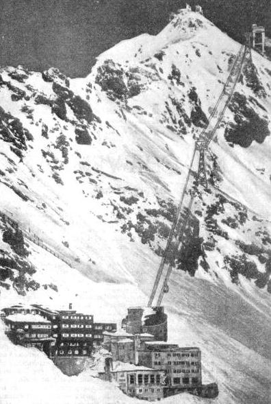 THE FINAL LINK with the peak of Germany's highest mountain is the aerial cableway that takes the traveller on the Bavarian Zugspitze Railway