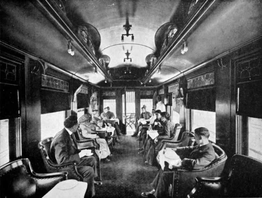 A library-observation car on the Canadian Pacific Railway