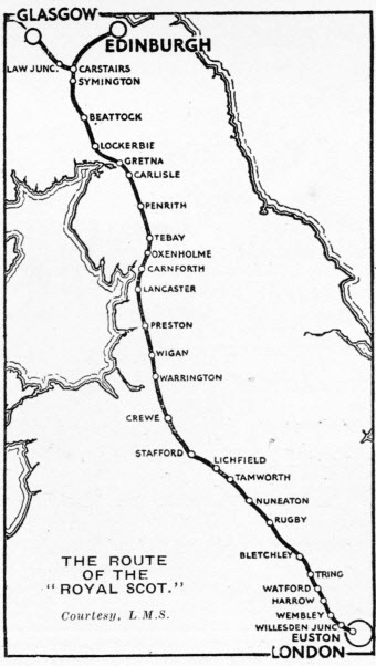 The route of the Royal Scot
