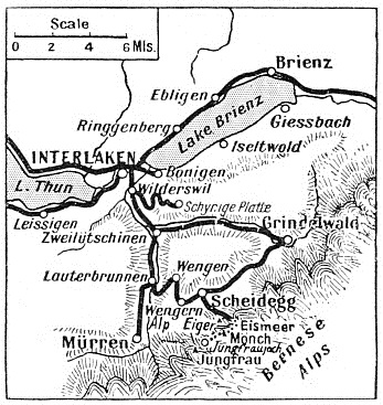 Map showing situation of the Jungfrau