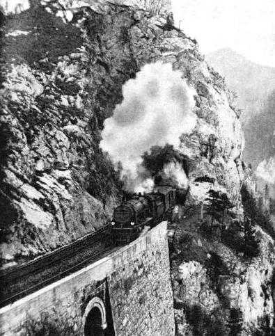 A train on the spectacular Semmering Pass route from Vienna to the south