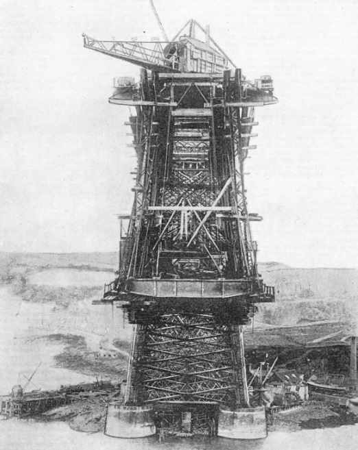 One of the giant cantilevers of the Forth bridge during the early stages of its construction