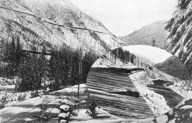 THE AVALANCHE MENACE which threatened the old route of the US Great Northern Railroad