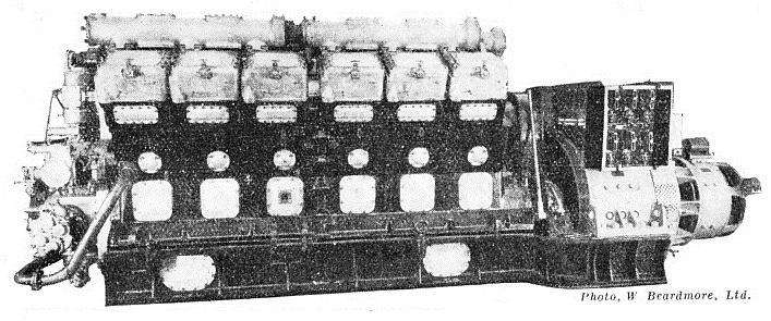 A six-cylinder Beardmore Diesel engine
