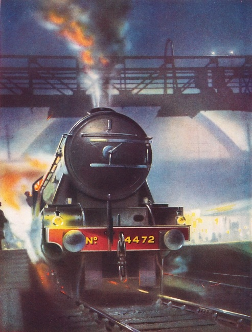 THE FLYING SCOTSMAN leaving King's Cross with a night express