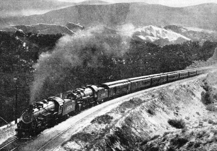 "Two locomotives are required to haul the ""Chief"" through country of this nature"