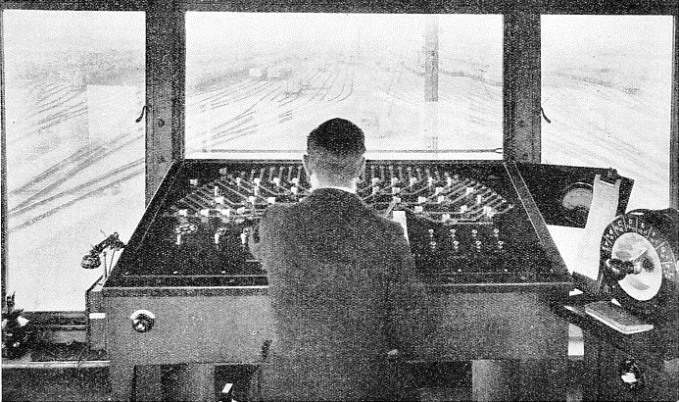 The operator at the control desk looks out over the down hump yard at Whitemoor.