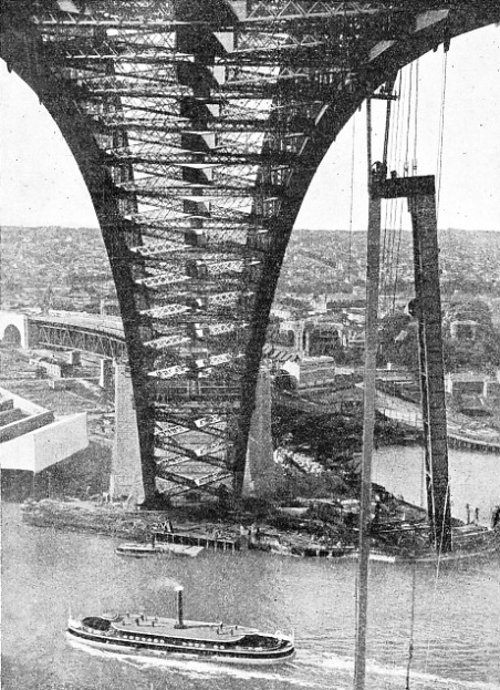 A SPECIAL TILTING CRADLE used in the construction of the Sydney harbour bridge