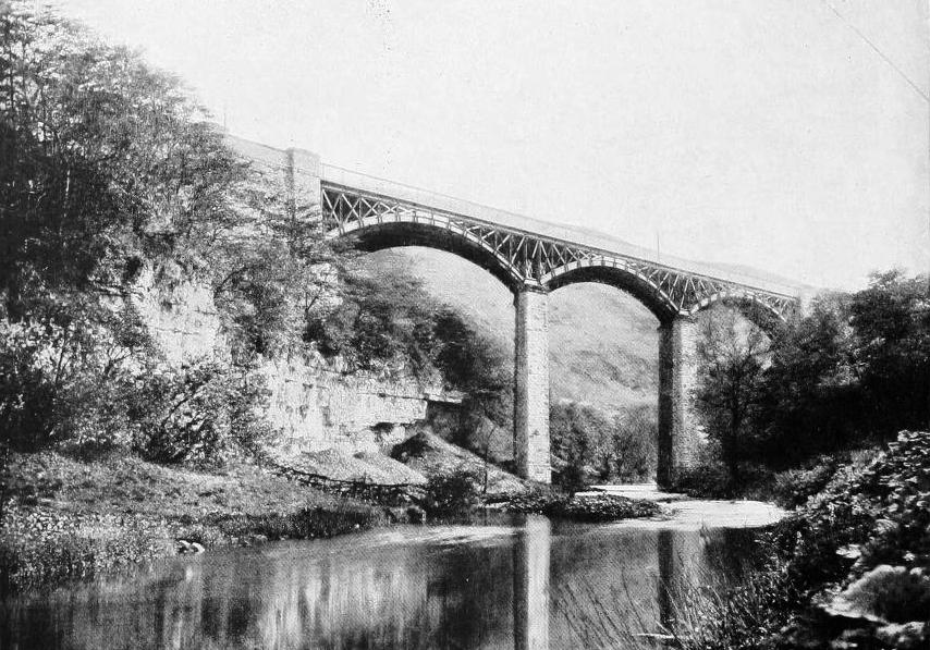 THE FIRST VIADUCT SPANNING MILLER'S DALE, IN 1886