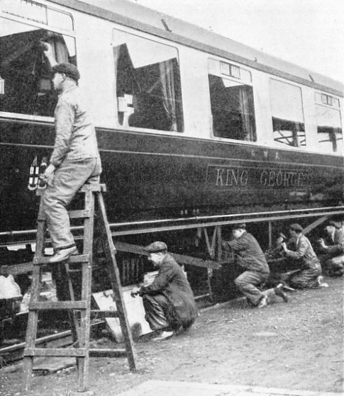 Preparing the train for the Duke and Duchess of Kent