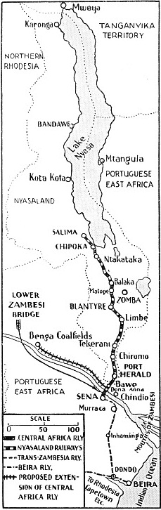 This map shows the relative position of the Lower Zambesi Bridge