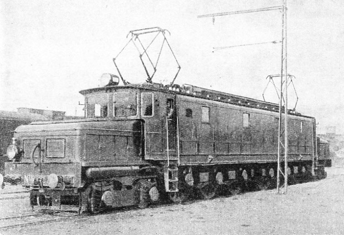 MODERN ELECTRIC LOCOMOTIVE of the type in service on the Northern Railway of Spain