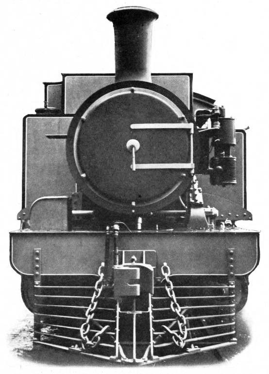 "END VIEW OF THE MEXICAN RAILWAYS HEAVY ""FAIRLIE"" ENGINE"